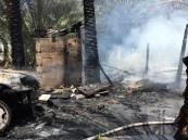 بالصور.. حريق ضخم يقضي على إحدى المزارع في #الأحساء
