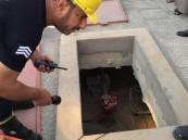 بالصور.. سقوط عاملين في خزان محطة وقود بالأحساء!!