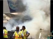 بالفيديو.. احتراق مقدمة طائرة للخطوط السعودية بمطار جدة