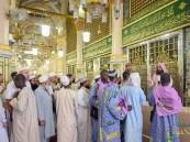 مشاهد من تنظيم حشود الزائرين في الروضة الشريفة بالحرم النبوي
