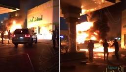 بالفيديو .. شاب سعودي ينقذ محطة وقود من كارثة وشيكه بعد احتراق سيارة
