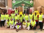 """بالصور.. """"خيرية العيون"""" توزع 459 سلة رمضانية بمشاركة 65 متطوع"""