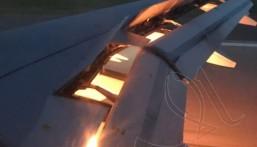 """شاهد بالفيديو… حريق جناح طائرة """"المنتخب السعودي"""" لكرة القدم"""