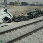 """قطار الركاب رقم """"1"""" القادم من الدمام  إلى الإحساء يصطدم بشاحنة و وفاة سائقها ."""