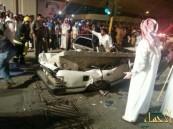 بالصور … سقوط جزء بكبري شارع المنصور على إحدى السيارات
