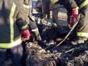 بالصور .. تفحم مواطن في حادث مروري أليم بالأحساء