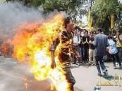 سائق يشعل النار في نفسه احتجاجاً على مخالفة