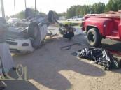 """بالصور.. وفاة شخص وإصابة """"5"""" بحادث على طريق قرية العمران بالأحساء """"تحديث"""""""