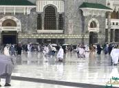 """صورة حاج يصلي خاشعاً تحت المطر في الحرم توصف بـ""""الأجمل روحانياً"""""""