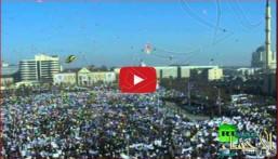 بالفيديو… مظاهرة مليونية لنصرة الرسول(صلّى الله عليه وسلّم) بالشيشان