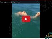 بالفيديو … جمل يسبح في عرض البحر
