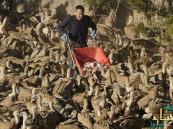 بالصور… بحار إسباني يطعم مئات النسور يومياً منذ 27 عاما