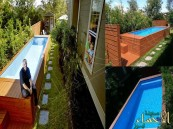 بالفيديو والصور… مهندس يحول حاوية قمامة عملاقة لحوض سباحة مذهل !