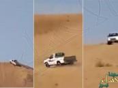 بالفيديو.. سعودي ينفذ تحديا مثيراً بصعود تل عمودي بسيارته