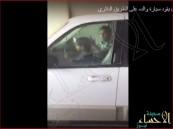 """بالفيديو.. طفل يقود """"الجيب"""" على  دائري الرياض.. والمرور يطيح بوالده"""