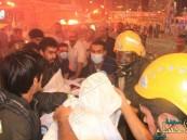 بالصور.. حريق بأحد فنادق الحجيج بـ #مكة وإخلاء 1028 حاجاً آسيوياً
