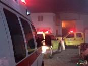 بالصور.. إصابة أحد رجال الدفاع المدني أثناء مكافحة  #حريق_حراج_الدمام
