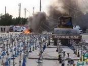 بالصور.. إعدام 8 آلاف شيشة في ميدان عام بباكستان