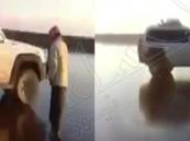 بالفيديو.. بحيرة ماء تتجمد في حائل ومواطن يقود سيارته فوقها