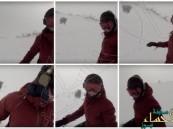 بالفيديو.. فتاة تتزلج على الجليد دون أن تنتبه لـ دُب يلاحقها !!