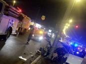 """بالصور … في #الأحساء قبيل أذان الفجر حادث شنيع لـ""""كيا وهونداي"""" والنتيجة وفاتين"""