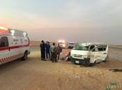 بالصور في #الأحساء .. 14 مصاب في حادث سير على طريق خريص