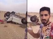 انقلاب سيارة اللاعب #ماجد_المرشدي أثناء عودته من #الرياض