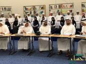بالصور.. محمد بن راشد يعقد مجلس الوزراء داخل مدرسة بحضور الطلاب