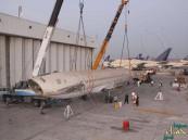 بالفيديو والصور … نقل طائرة تابعة للخطوط من #جدة إلى #الرياض على ظهر شاحنة