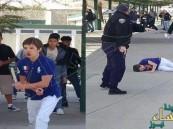 شاهد.. الشرطة تطلق النار على طالب أميركي هدد زملاءه بسكين
