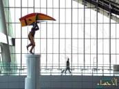 """بالصور.. """"ابن فرناس"""" يعود للذاكرة عبر منحوتتين بمطار حمد الدولي"""