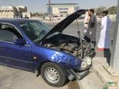 """بالصور و رغم تحذير """"الأحساء نيوز"""".. حادث جديد على طريق الملك عبدالعزيز بـ""""العمران""""!!"""