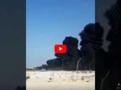 """بالفيديو.. انفجار شاحنات وقود في """"الجبيل"""" بعد اشتعالها بالنيران"""