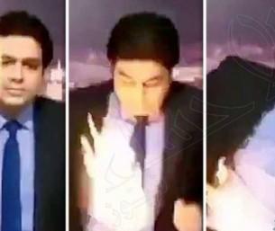 """بالفيديو… """"مذيع تلفزيوني"""" يحترق على الهواء مباشرة !!"""