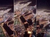 شاهد .. منظر خلاب لمدينة الدمام ليلاً التقط من داخل قمرة طائرة