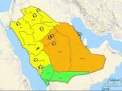 التنبيهات تكسو جنبات خريطة  #الإنذار_المبكر .. أمطار وغبار و7 مناطق