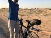 """دراج أحسائي يقطع 750 كلم من """"الطرف"""" رأسًا إلى """"الكويت"""" .. وهذه أجمل لحظة صادفت رحلته!!"""
