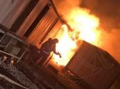 """بالصور… حريق يلتهم """"سكن عمال"""" في الأحساء"""