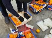 """إحباط تهريب 4.5 مليون حبة كبتاجون مخبأة في """"برتقال"""""""