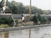 بالصور… إنهيار جزء من قناة الري يُغرق طريق الجفر