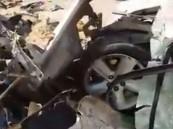 بالفيديو … حطام سيارة أبناء مدير جامعة الجوف بعد الحادث المروع