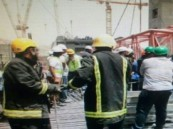 إصابة 3 عمال إثر سقوط رافعة بمشروع توسعة الحرم