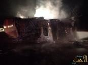 بالصور .. حادث إحتراق شاحنة بالأحساء وقائدها ينجو بإعجوبة