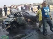 إصابة ثلاثة  وتفحم أخر في حادث  مروري  مروع على طريق محاسن – الصناعية بالأحساء أمس .