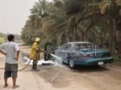 حرارة الشمس القوية تؤدي الى إحتراق سيارة من ( فورد ) في  قرية البطالية .