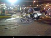 وفاة وإصابة 11 شخصاً في حادث مروري مروع في شارع الظهران بالأحساء .