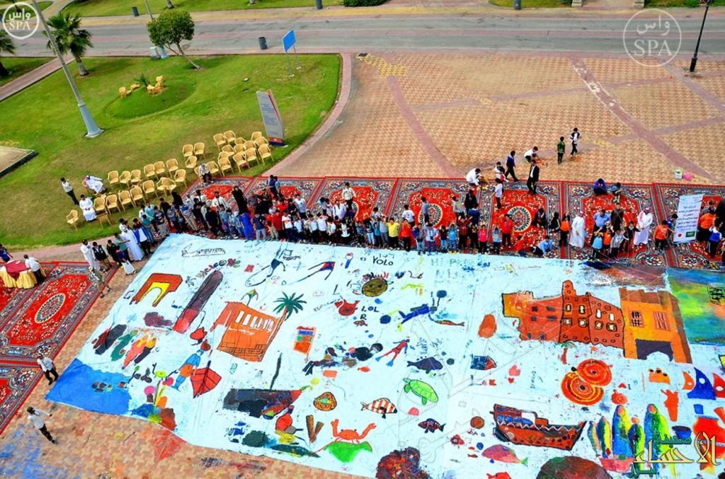 500 طالب بالشرقية يضعون بصماتهم على لوحة فنية تجسد هوية المنطقة