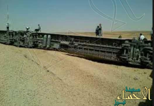 جنوح قطار على خط البضائع بالقرب من حرض دون إصابات