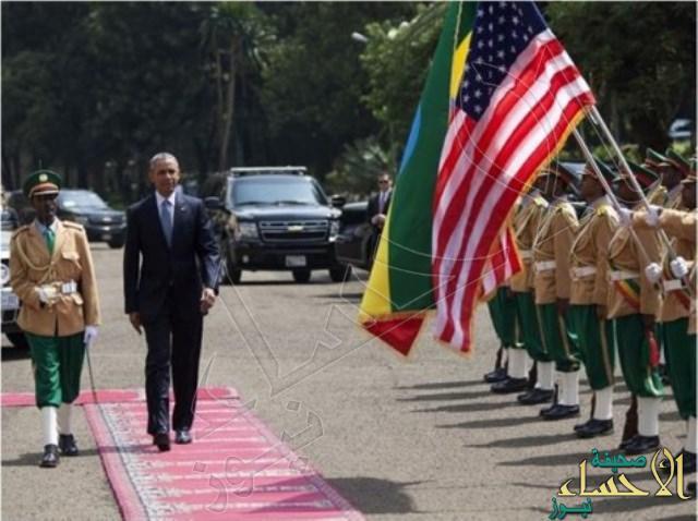بالصور.. أثيوبيا تستخدم سجاد المساجد في مراسم استقبال أوباما !