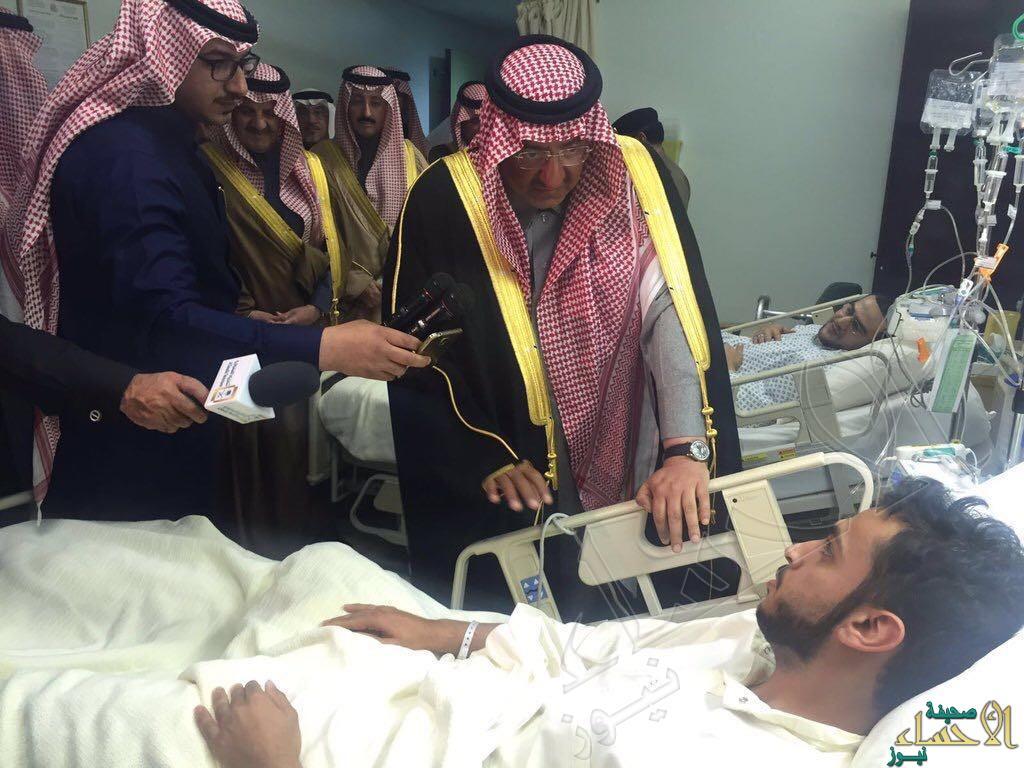"""بالصور… ولي العهد يصل #الأحساء للإطمئنان على صحة مصابي حادث مسجد """"الرضا"""""""